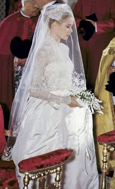 Grace Kelly at her wedding to Prince Rainer III of Monaco, 19 April 1956