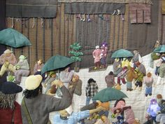 Detail of street scene quilt. Such a clever idea
