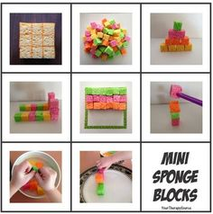 OT Activities of the Week: Fun with Mini Sponge Blocks- pinned by @PediaStaff – Please Visit ht.ly/63sNtfor all our pediatric therapy pins
