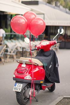 Red Balloons in Paris Red Vespa Paris by rebeccaplotnick