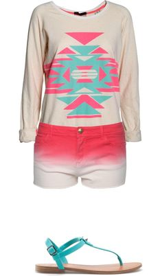 """""""Coral and teal"""" by brandyayers on Polyvore"""
