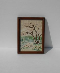Framed Vintage Crewel Embroidery by OldThingsMakeMusic on Etsy, $12.95