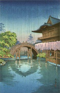 Wisteria & Half-Moon Bridge, Kameido, by Tsuchiya Koitsu