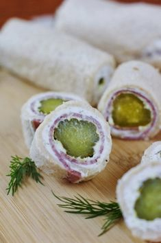 Dill Pickle Bites.they look like sushi rolls..try with a variation of a cucumber tea sandwich