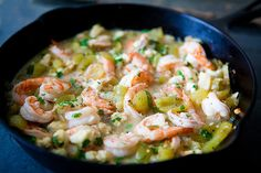 shrimp and tomatillos
