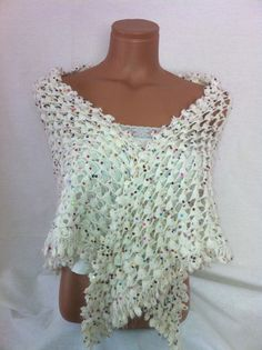 Crocheted white color shawl with shiny colorful spangles by Arzus