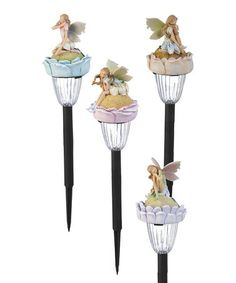 Flowered Fairy Garden Solar Stake Set #zulily #zulilyfinds