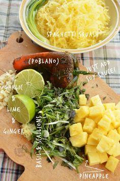 Vegan and Vegetarian Thai Spiced Spaghetti Squash, a stir fried vegetable dish infused with spicy Thai flavors.  #vegan #vegetarian