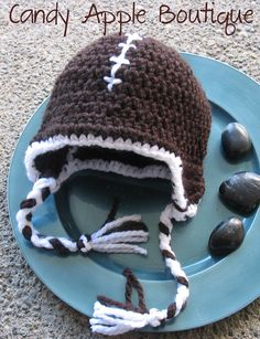 Football Crocheted Hat. Perfect for my little man :)