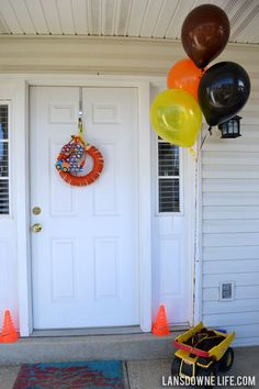 Construction-themed birthday party entrance