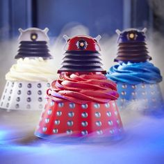 Doctor Who Dalek Cupcake Wraps and Toppers.