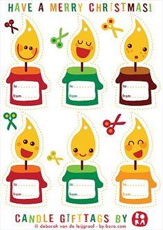 Tarjetas de regalo con simpáticas velitas de #Navidad, descargables. || free gift tags