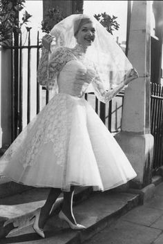 First things first, opt for a tea-length dress for a beautiful and classic bridal look. | 14 Ways To Bring Vintage Glamour To Your Wedding