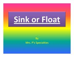 Sink or Float bundle: class book and interactive booklets include:  -A Sink or Float class book to read before conducting a science experiment to see which items sink and which items float. The items in the page can be easily found around schools.  -An interactive easy reader that is leveled. Students can cut and paste their answer from the choice sheet or they can write the answer in.  $2.75 #science