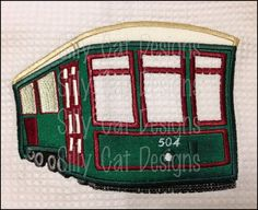 New Orleans Street Car Trolly Applique Design by SillyCatDesigns, $3.50
