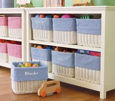 Kid-friendly clean ups - If children are expected to learn how to clean up after themselves, it helps to give them easy ways to do it. Use low shelving and labelled storage bins for all their toys and crafts!