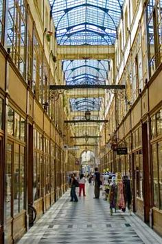 Precursor to the shopping mall, covered passages, with glass ceilings, marble walls, and mosaic floors, were a place for well-heeled Parisians of the early 19th century to gather. Passage du Grand Cerf is on the must-see list.