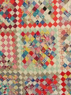 Vintage Quilt Feedsack Handmade Postage Stamp Album Quilt Primitive Cotton 1939