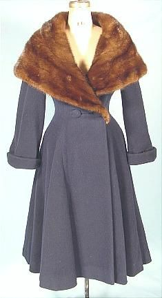 """c. 1953 PAULINE TRIGERE Heavy Dark Blue Wool Winter Coat with Enormous Shawl Mink Collar!  Gorgeous dark blue heavy and padded wool coat with the """"New Look"""" shape with wasp waist and full hips.... topped off by the enormous brown mink shawl collar! Cuffed sleeves are just turned up, but can be worn turned down as well. Fully lined and padded with an extra wool layer (with a bit of a fluffy feel) for extra warmth! Two buttons at the waist can be moved for larger waist size."""