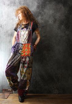 Vintage Dress Overalls Hippie India Cotton Patchwork Bohemian Overalls Jumpsuit