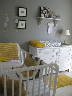Yellow + grey! nursery colors, wall colors, grey walls, color schemes, color combos, nurseri, changing tables, white furniture, babies rooms