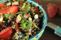 If you're on the lookout for an easy side for a potluck or a cookout, you won't regret this quinoa salad with strawberries. #Quinoa #Salad #Strawberry