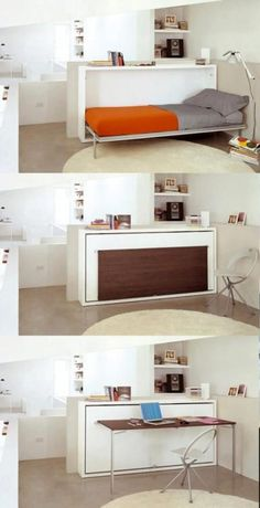 This is a fantastic idea too. Would go great in the living room along the wall. Table + additional sleep space = genius!