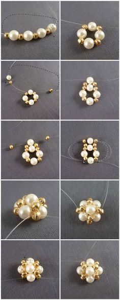 pearl, fav craft, bead, fav diy, how to make stud earrings