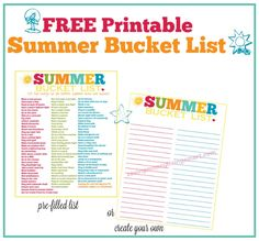 FREE Printable Summer Bucket List - 100 Fun Things To Do with Kids  #summer #free #printable