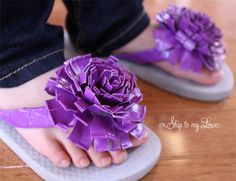 shoes, duck tape, ducks, flip flops, duct tape flowers, daughters, flower tutorial, tapes, crafts