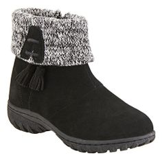 Now introducing our newest water resistant bootie, Snowshoe! This super comfortable low heel bootie features a cozy trim, tassle detailing and zipper closures for a flexible fit.  Available in medium.