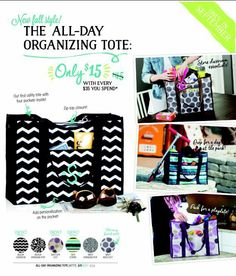 Thirty-One September 2014 monthly special! All new All Day Organizing Tote only $15 with every $35 you spend!