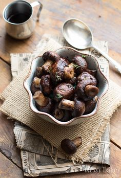 grilled mushrooms with merlot reduction