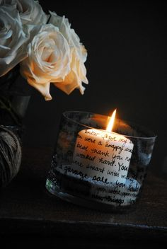 Sharpie paint pen on glass votive - poem, song lyrics, special memories.  #DIY #craft