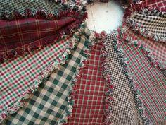 Primitive Homespun Rag Christmas Tree Skirt