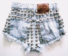 studs, jean shorts, fashion, cloth, style