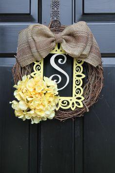Summer Wreaths for door Spring Burlap wreath for by OurSentiments, $65.00 monogram wreath, the doors, burlap wreaths, country cottages, easter wreaths, burlap bows, spring wreaths, summer wreath, heart wreath