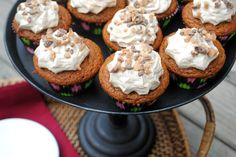 Delicious, moist Pumpkin Cupcakes topped with Maple frosting and toffee bits!