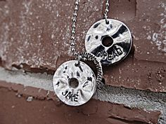 hand stamped on silver rings with ball chain necklace