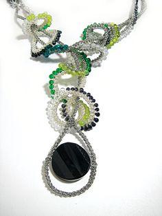 Wire Crochet beaded tabular wavy ruffle collar necklace by FestiJe, $199.00