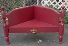 corner bench made from a headboard