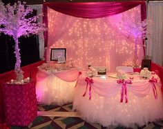 lights!!!! idea, sweet 16, birthday parties, little girl parties, backdrops, quinceanera lights, teen parties, sweet sixteen, table skirts