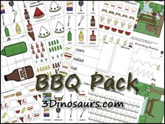 3 Dinosaurs: BBQ Activity Pack Printables