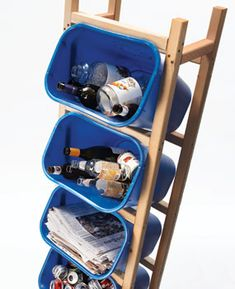 Recycling solution.  Great for the kitchen when you are turning in the recyclables for money.  I must to build one.  steeper slant for the bottles