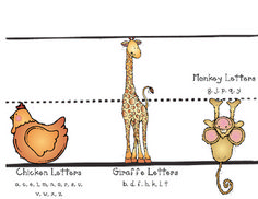 Free Printable for Writing Help - Chicken, Giraffe, and Monkey Letters