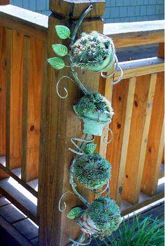 Garden Decorations Made From Junk   Garden Art From Trash - Metal Garden Art - Outdoor Decorating Ideas