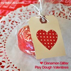 No candy involved valentines gift.  DIY:  Four minute cinnamon scented glitter play dough.  Make Life Lovely