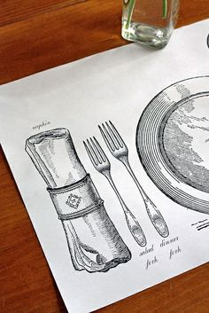 printable placemat by luluthebaker. Wall art for kitchen. Pretty and teaches the correct way to set a table.