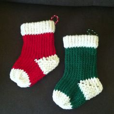 Loom knit Christmas stockings