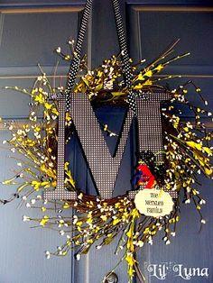 Monogram Door Wreath (she: Kristyn) -- Need to update my fall door wreath
